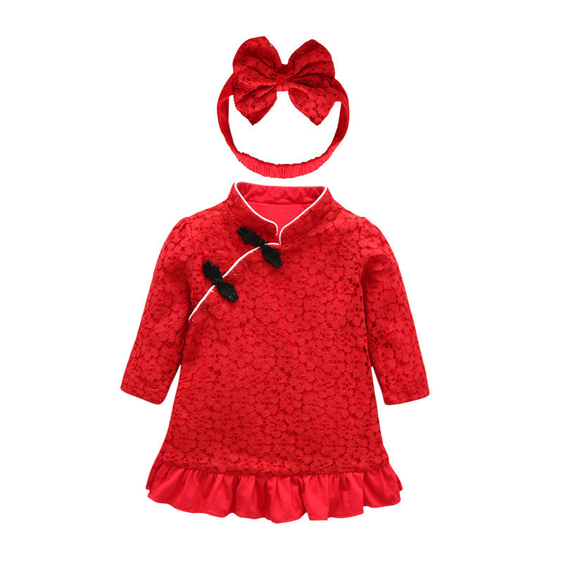 2018 Autumn New Baby China Style Headdress High-end Custom Lace Fabric Dress Out Dresses Baby Girls Red Cute Birthday Clothing - thefashionique