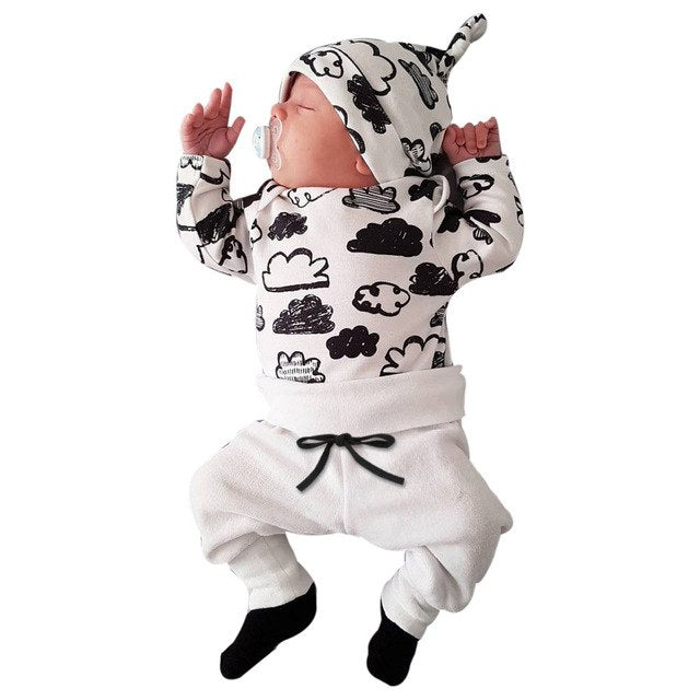 2018 Autumn Newborn Cute Toddler Baby boy girll Clothes Long Sleeve Tops+Pants+Hat newborn infant 3pcs Outfits baby clothing set - thefashionique
