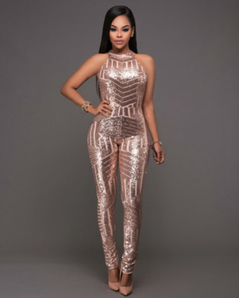 2018 Autumn Winter Women Gold Sequin Jumpsuit Mesh Bodysuit Fashion Sleeveless Sexy Party Club Bodycon Rompers Skinny Long Pants - thefashionique