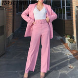 2018 Autumn Women Fashion Casual Two Piece Set OL Suit Set Long Sleeve Double-breasted Blazers Coat + Slim Full Length Pant Set - thefashionique
