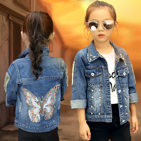 2018 Baby Girls Denim Jacket Cardigan Coat Child Jean Outwear Butterfly Embroidery Sequins Children Clothing Spring Kid Clothes - thefashionique