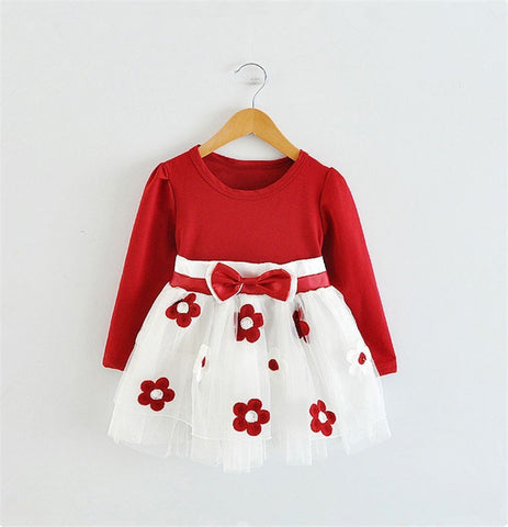2018 Baby Princess Girls Toddler New Born Flower Dress for Newborn Long Sleeves 1-2 Year Birthday Baby Dresses for Children - thefashionique