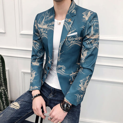 2018 Baroque Blazers Mens Printed Blazer Masculino Slim Fit Blue and Gold Blazer Homme Summer Club Outfits Stage Costumes Casual