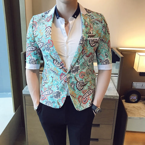 2018 Baroque Suits Mens Blazers Pattern Smoking Jackets Mens Fancy Blazers Suits Mens Summer Blazer Slim Blue Social Club Outfit