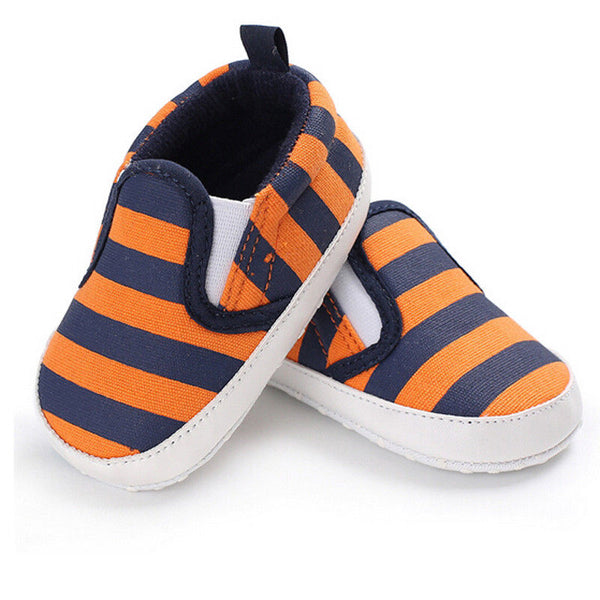 2018 Brand New Toddler Infant Baby Shoes Newborn Boys Girls Soft Soled Casual Crib Shoes Prewalker Striped Patchwork Shoes 0-18M - thefashionique