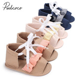 2018 Brand New Toddler Infant Newborn Baby Girls Beach Sandals Canvas Anti Slip Crib Shoes Party Soft Sole Ruffled Prewalkers - thefashionique