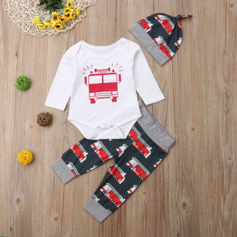 2018 Canis Newborn Baby Girls Boys Clothes Car Romper Jumpsuit Pants Legging + Hat Outfits Autumn Casual Set