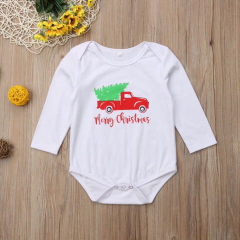 2018 Canis Newborn Infant Baby Boys Girls Christmas Car Bodysuits Long Sleeves Jumpsuits Autumn Casual Outfits