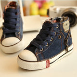 2018 Canvas Children Shoes Sport Breathable Boys Sneakers Brand Kids Shoes for Girls Jeans Denim Casual Child Flat Boots 25-37 - thefashionique