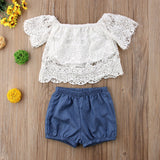 2018 Children Clothing Set Girls Dress Fashion Baby Girls Clothes Lace White Tops+Denim Shorts + Ruffle Bow Skirt Kids Clothes - thefashionique