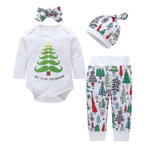 2018 Christmas Baby Clothes Set 4pcs Cotton Cute Tree Romper Pants Headband Hat  Long Sleeve Casual Cotton Outfits for Gift