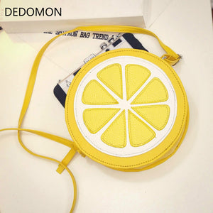 2018 Circular Orange Lemon Women Bag Zipper Messenger Bags Crossbody Waterproof Handbags Brand Designer Purse Lady Shoulder Bags - thefashionique