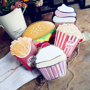 2018 Creative Style Woman Hamburger Ice Cream Cupcake PU Chains bags Cute Cartoon Hamburger Popcorn Fries 3D Messenger Bags - thefashionique
