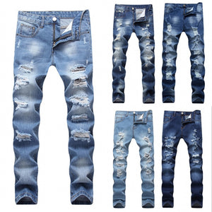 2018 Designer Men's Ripped Jeans Pants Slim Fit Light Blue Denim Joggers Male Distressed Destroyed Trousers Button Fly Pants - thefashionique