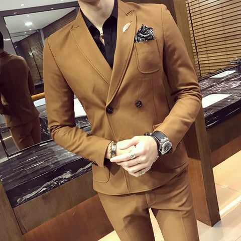 2018 Double Breasted Mens Suits Smoking Jackets Khaki Mens Suits With Pants Tuxedo Short Slim Fit 2 pcs Prom Social Club Outfits