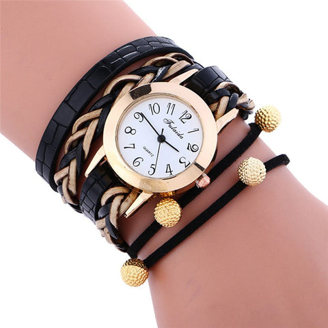 2018 Dress Fashion Watches Women Vintage Chains Synthetic Leather Strap Watch Bracelet Leopard Wristwatch