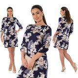 2018 Elegant Party Dress Plus Size Women Clothing Half Sleeve Straight Floral Printd Dress Big Size 5XL 6XL Summer Dress Female - thefashionique