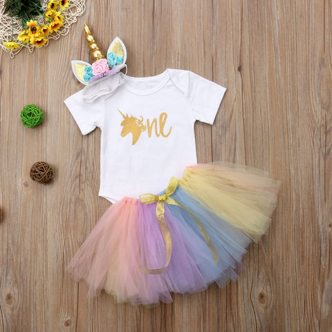 2018 Emmababy Newborn Baby Girls Birthday One Unicorn Bodysuit Tutu Skirt Colourful Summer Cute Set Bow Clothes - thefashionique