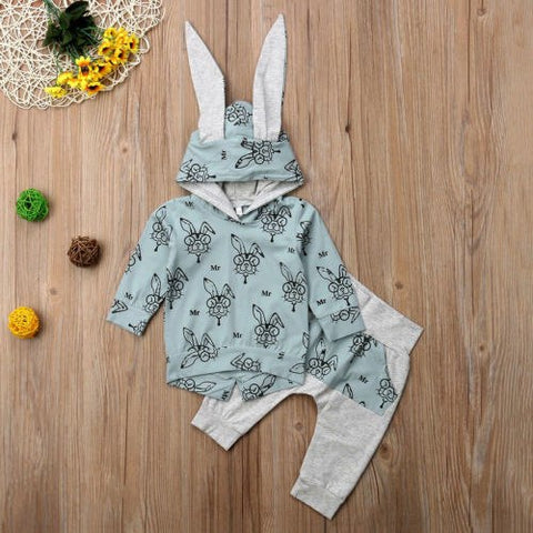 2018 Emmababy Toddler Kids Baby Girls Ear Hooded Top T-shirt+Leggings Outfits Clothes Bunny Autumn Set Clothing