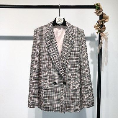 2018 Europe Style Women Plaid Blazer&Trouser Suits 2 Pieces Set Full Sleeve Long Pants Double Breasted Female Coat Elegant OL - thefashionique
