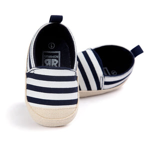 2018 Fashion Blue Striped Baby Boy Shoes Lovely Infant First Walkers Good Soft Sole Toddler Baby Shoes Hot Sale - thefashionique