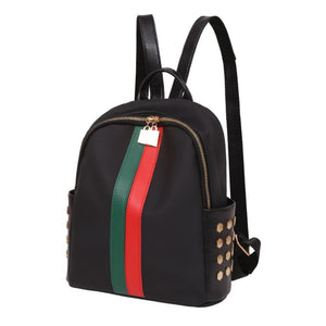 2018 Fashion Mini Backpack School for Girls Teenagers PU Leather Small Backpack Female Red Green Stripe Bag Mochila Feminina - thefashionique