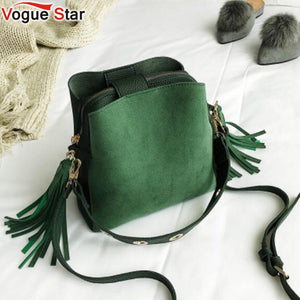 2018 Fashion Scrub Women Bucket Bag Vintage Tassel Messenger Bag High Quality Retro Shoulder Bag Simple Crossbody Bag Tote LB651 - thefashionique