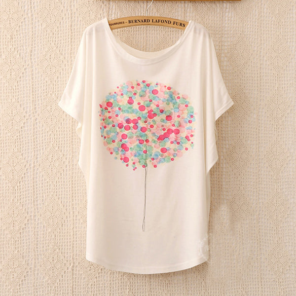2018 Fashion Women Tops Tees Cute Dream Catcher Printing Cotton T-shirt Women's Short Batwing Sleeve Tshirt on Sale - thefashionique