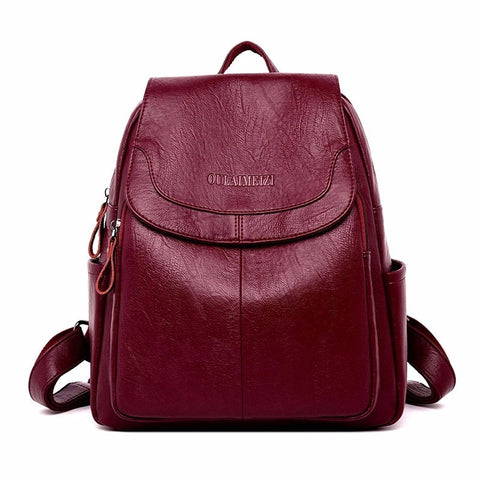 2018 Female Leather Backpacks High Quality Sac A Dos Ladies Bagpack Luxury Designer Large Capacity Casual Daypack Girl Mochilas - thefashionique