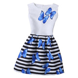 2018 Girls Dress Summer Butterfly Floral Print Teenagers Dresses for Girls Designer Formal Party Dress Kids Vestido 6-12Y - thefashionique