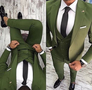 2018 Green men suits Peaked lapel Handsome men's classic suit Slim fit Groom Tuxedos wedding suit for men best men 3 pieces - thefashionique