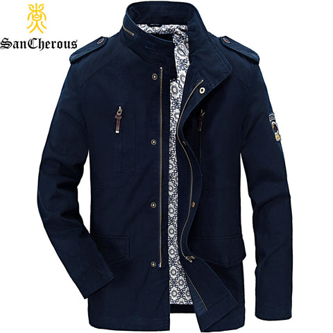 2018 High Quality Multi Pockets Spring Autumn Stand Collar Casual Men Jackets Patch Designs Winter Jackets Size M-4XL