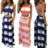 2018 Hot 8 Colors Gradual Stripe 2pcs Long Dress Set Women Hollow Out Cropped Tops and Side Split Maxi Skrit Chic Backless Dress - thefashionique