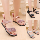 2018 Hot Sale Baby Girl Sandals Fashion Bling Shiny Rhinestone Girls Shoes With Rabbit Ear Kids Flat Sandals 13-22CM - thefashionique