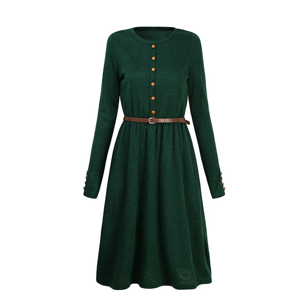 2018 Hot Sale Black Green Women Long Sleeve Knitted Button Dress Autumn Winter Dress Ladies O Neck Casual Party Dress With Belt - thefashionique