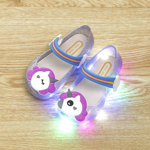 5ada9d9e7d7f 2018 Hot Sale Girls Unicorn Shoes Kids Jelly Sandals LED Light Up Glitter  Shoes Little Girl