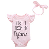 2018 Hot sell Newborn cotton Baby Girls clothes letter print sleeveless Ruffle Bodysuit Bow Headband 2pcs baby clothing Outfits - thefashionique