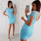 2018 LDZHPS Summer Fashion Women  Lace Dresses Casual O-Neck Short Sleeve Slim Dress Sexy Bodycon Sheath Mini Vestidos - thefashionique