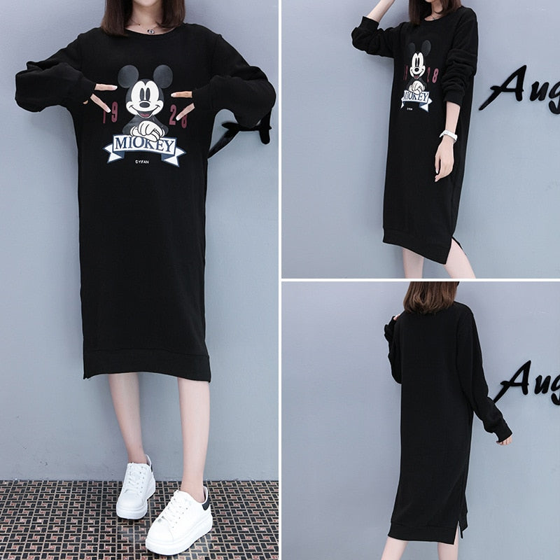2018 Long Pregnancy Winter Clothes Cartoon Mickey Long Sleeved Maternity Sweater for Pregnant Hoodie Dresses of The Big Sizes - thefashionique