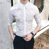 2018 Men Transparent Sexy Shirt Hot Gay Shirt Black White Wet Shirts For Men Fashion Fashion Summer Lace See Through Shirt - thefashionique