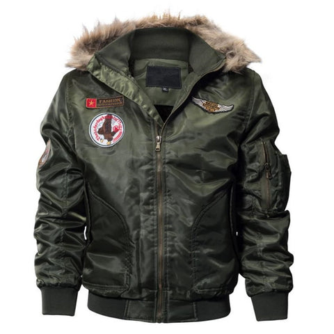 2018 Men's thick plush coat winter jacket coat army green men flying bomber jacket street  coat