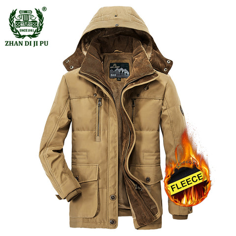2018 Men's winter thicken warm hooded casual brand army green jacket coat man cotton afs jeep khaki fleece thick jacket coats