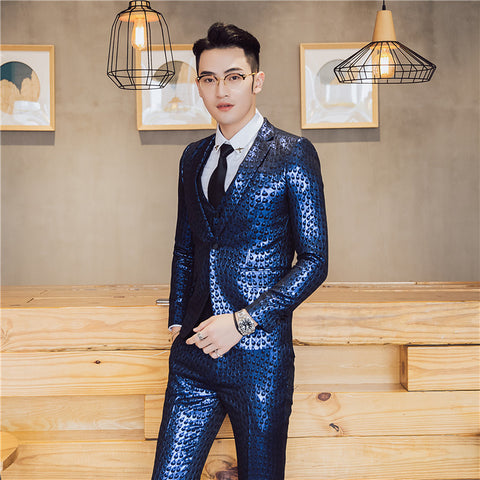 2018 Mens Party Suits Gold Blazers Terno Masculino Slim Fit Night Club Outfits DJ Stage Costume Shiny Suits Men Royal Blue Dress