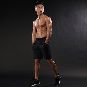 2018 Mens Shorts Mesh Patchwork Breathable Workout GYMS Shorts Quick Dry Elastic Shorts black gray - thefashionique