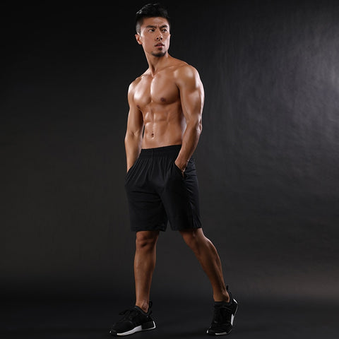 2018 Mens Shorts Mesh Patchwork Breathable Workout GYMS Shorts Quick Dry Elastic Shorts black gray
