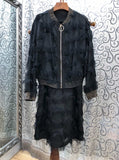 2018 Musk Fur Decorative Zipper Long Sleeve Coat + Shoulder Sling  Suit1201 - thefashionique