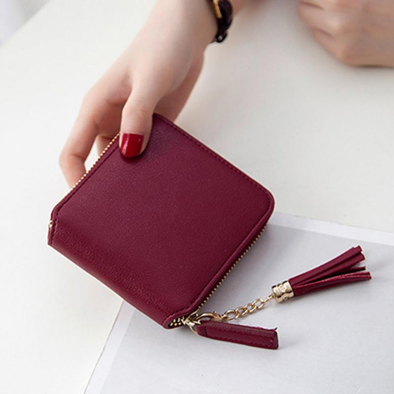 2018 NEW Coin Purses Holders Wallet Female Leather Tassel Pendant Money Wallets Hot Fashion Wine Red Clutch Bag - thefashionique