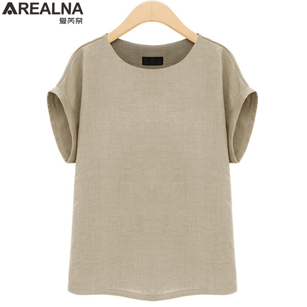 2018 NEW Summer Cotton linent shirt women tops tee shirt femme sexy Casual Plus Size Loose Basic t shirts camisetas mujer 5XL - thefashionique