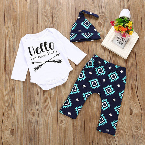 2018 New 3PCS Toddler Baby Boys Girls Letter Print Top Clothes+Long Pants+Hat Set Outfit Newborn Set Baby Clothing set 30 - thefashionique