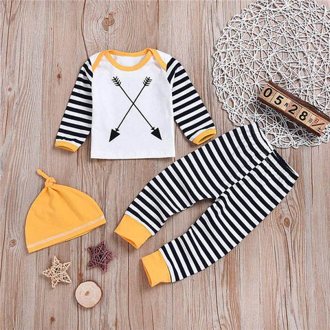 2018 New 3PCS Toddler Baby Boys Girls Stripe Print Top Clothes+Long Pants+Hat Casual style Set Outfit Baby Clothing set 30 - thefashionique